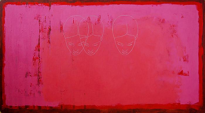 Hetki muotoutuu 2 / A moment takes shape 2 , 2009, acrylic and oil on masonite, 121cm x 73cm